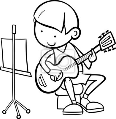 Muchacho con la guitarra para colorear fotomural • fotomurales ...