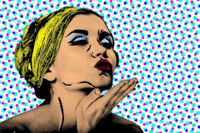 Fotomural Mujer cómica del estilo del arte pop, cartel retro