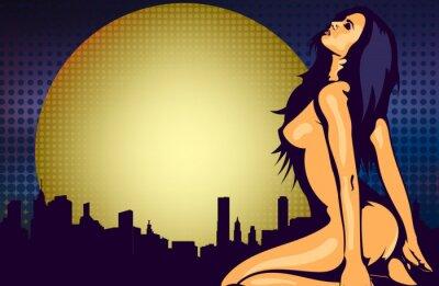 Fotomural Mujer desnuda cerca de la ventana con vista de la ciudad de noche, plantilla de diseño de vectores