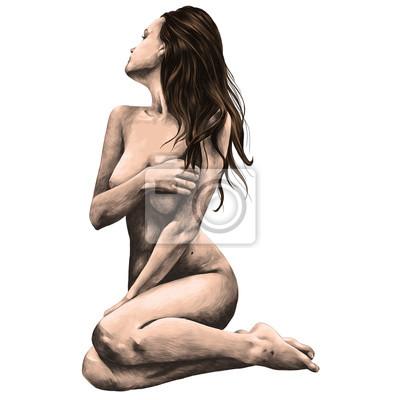 Fotomural mujer desnuda posando para un boceto dibujo vectorial de color dibujo