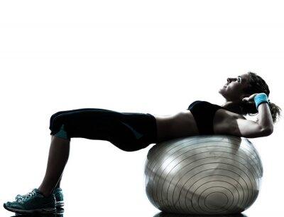 Fotomural mujer el ejercicio de bola de la aptitud del entrenamiento