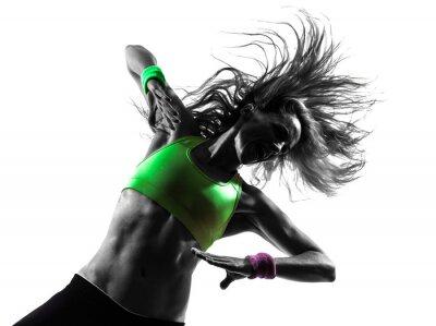 Fotomural mujer en el ejercicio Zumba Fitness silueta bailando
