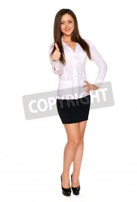 11ff090228712 Fotomural Mujer en una camisa blanca y estrecha falda negra mostrando  pulgar hacia arriba signo y