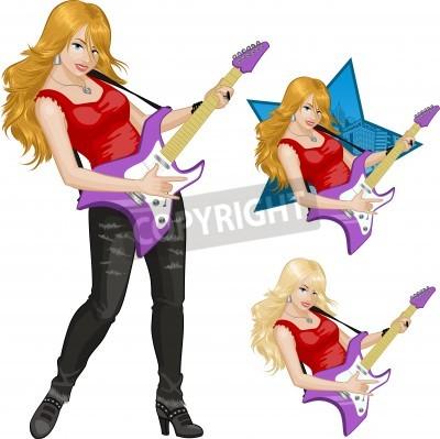 Fotomural Mujer Músico De Rock Tocando Guitarra Eléctrica Ilustración Vectorial