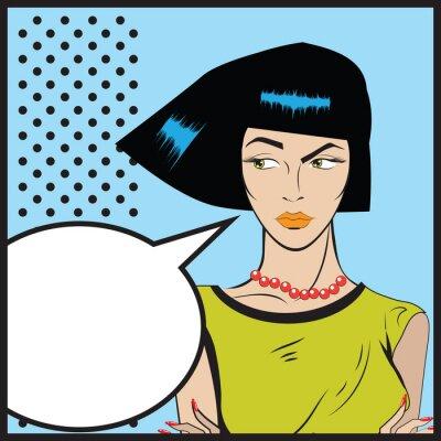 Fotomural Mujer Pop Art - Retro Clip Art ilustración