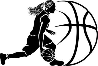 Fotomural Mujer Regate del baloncesto Sihouette con la bola