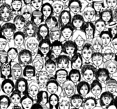 Fotomural Mujeres - dibujado a mano patrones de fondo / Endlosmuster con muchas mujeres diferentes (negro y blanco) versión