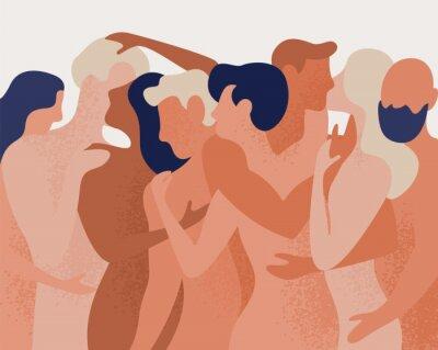 Fotomural Multitud de hombres y mujeres desnudos abrazándose y besándose. Concepto de poligamia, poliamor, relación íntima romántica y sexual abierta, amor libre. Ilustración de vector colorido en estilo de dib