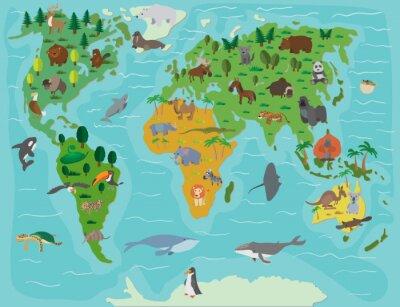Fotomural Mundo animal. Mapa divertido de la historieta