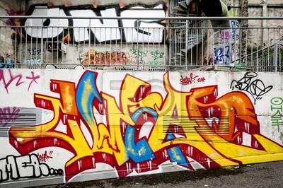 Fotomural mur fond de graffitis