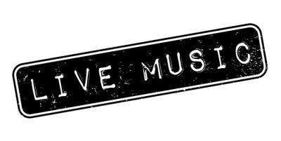 Fotomural Música en vivo sello de goma. Diseño de grunge con rasguños de polvo. Los efectos se pueden quitar fácilmente para un aspecto limpio y nítido. El color se cambia fácilmente.