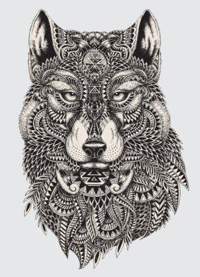 Fotomural Muy detallada lobo ilustración abstracta