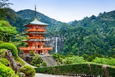 Fotomural Nachi, Japón en la pagoda de Seigantoji y Nachi no Taki Waterfall.