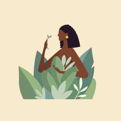 Fotomural Naked beautiful young woman in big leaves with dark skin and hair. African American girl keep organic green plant. Concept of natural cosmetics for body care and beauty. Illustration in flat design