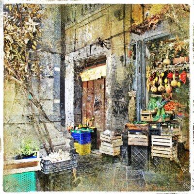 Fotomural Napoli, Italia - viejas calles con una pequeña tienda, imagen artística