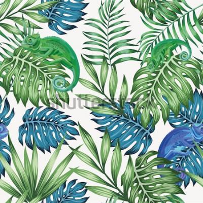 Fotomural Naturaleza camaleón exótico azul y verde tropical deja de patrones sin fisuras en el vector fondo blanco