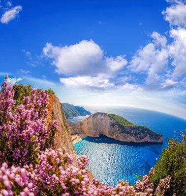 Fotomural Navagio playa con naufragio y flores contra el cielo azul en la isla de Zante, Grecia
