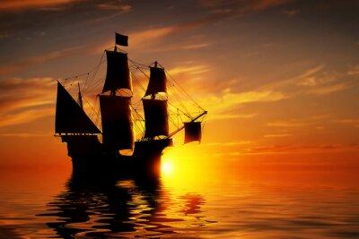 Fotomural Nave vieja antigua del pirata en el océano pacífico al atardecer.