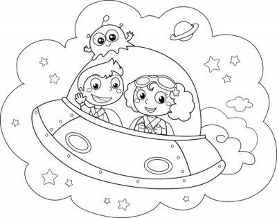 Fotomural Navetta Simpatica pilotata spaziale da bambini