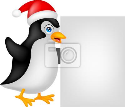 Navidad Divertidos Dibujos Animados De Pingüinos Con La Muestra
