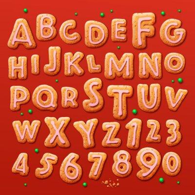 Fotomural Navidad galletas de jengibre alfabeto y los números