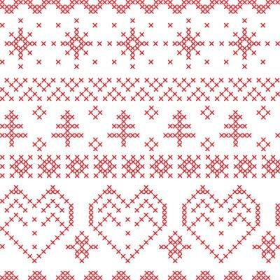 Fotomural Navidad sin fisuras patrón inspirado en patrones cruzados nórdicos