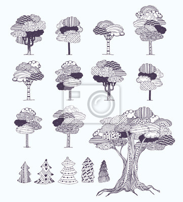 Negro - blanco fantasía árboles con nubes en las hojas. tema ...