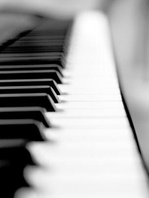 Fotomural Negro de piano cerca de desenfoque de fondo y primer plano.