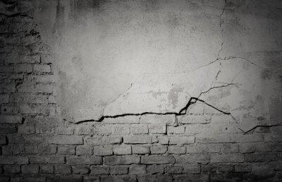 Fotomural Negro grunge degradado, textura de pared de ladrillo agrietado