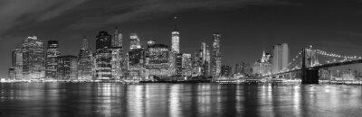 Fotomural New York City blanco y negro en la imagen panorámica de la noche, los EEUU.