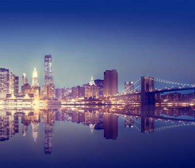 Fotomural New York City Lights escénica Bridge View Concepto