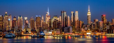 Fotomural New York City Manhattan midtown buildings skyline night