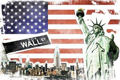 Fotomural New York City vintage collage, US flag background
