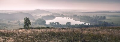 Fotomural Niebla de la mañana y el lago