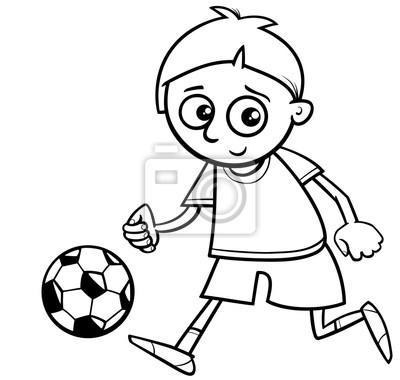 Niño jugando pelota para colorear fotomural • fotomurales futbolista ...