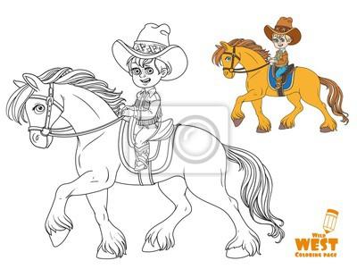 Niño pequeño lindo en traje de vaquero montando en un caballo ...