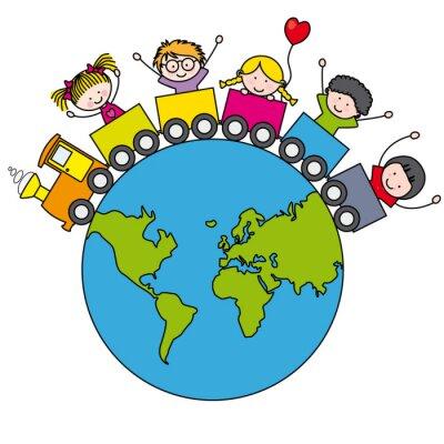 Fotomural Niños en la ONU tren Alrededor del Mundo