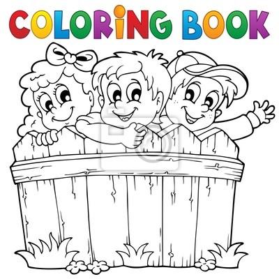 Fotomural Niños Libros Para Colorear El Tema 1