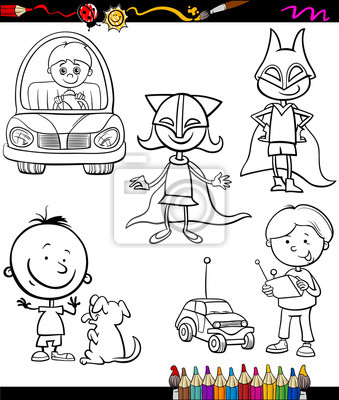 Niños para colorear de dibujos animados conjunto fotomural ...