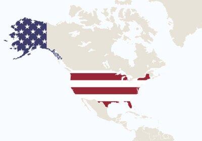 Fotomural Norteamérica con el mapa destacado de los EEUU.
