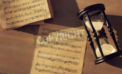 Fotomural Notas musicales sobre la mesa