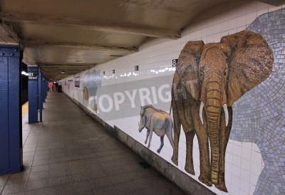 Fotomural NOVENTA YORK - 6 DE JULIO: La gente espera en el museo de la estación del subterráneo de la historia natural el 6 de julio de 2013 en Nueva York. Con 1.67 mil millones de paseos anuales, el metro de l
