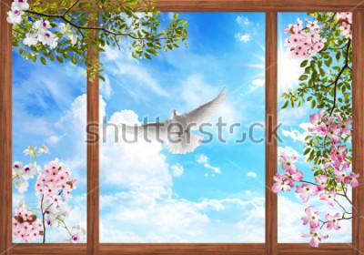 Fotomural Nubes cielo 3d y hermoso árbol, marco de flores