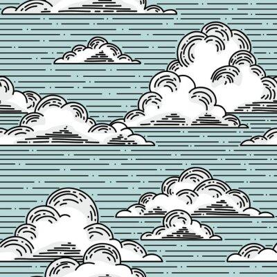 Fotomural Nubes patrón transparente dibujado a mano ilustración. Vector de fondo