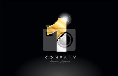 Fotomural number 1 gold silver grey metal on black background logo