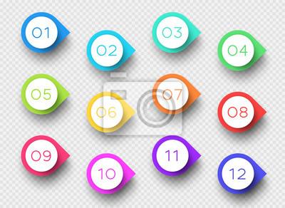 Fotomural Número Bullet Point Colorido 3d marcadores 1 a 12 Vector