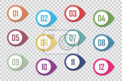 Fotomural Número de punto de bala Colorido 3d marcadores de 1 a 12 Vector