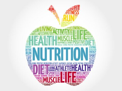 Fotomural Nutrición nube de la palabra de la manzana, concepto de la salud