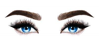 Fotomural Ojos de mujer con pestañas largas. Dibujado a mano ilustración acuarela. Pestañas y cejas. Diseño para extensiones de pestañas, microblading, rimel, salón de belleza, cosmética, maquilladora. Ojos azu