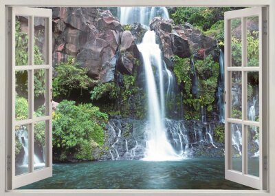 Fotomural Open window view to Cormoran waterfall, Reunion island